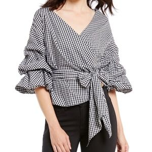 Gianni Bini Gingham Wrap Top
